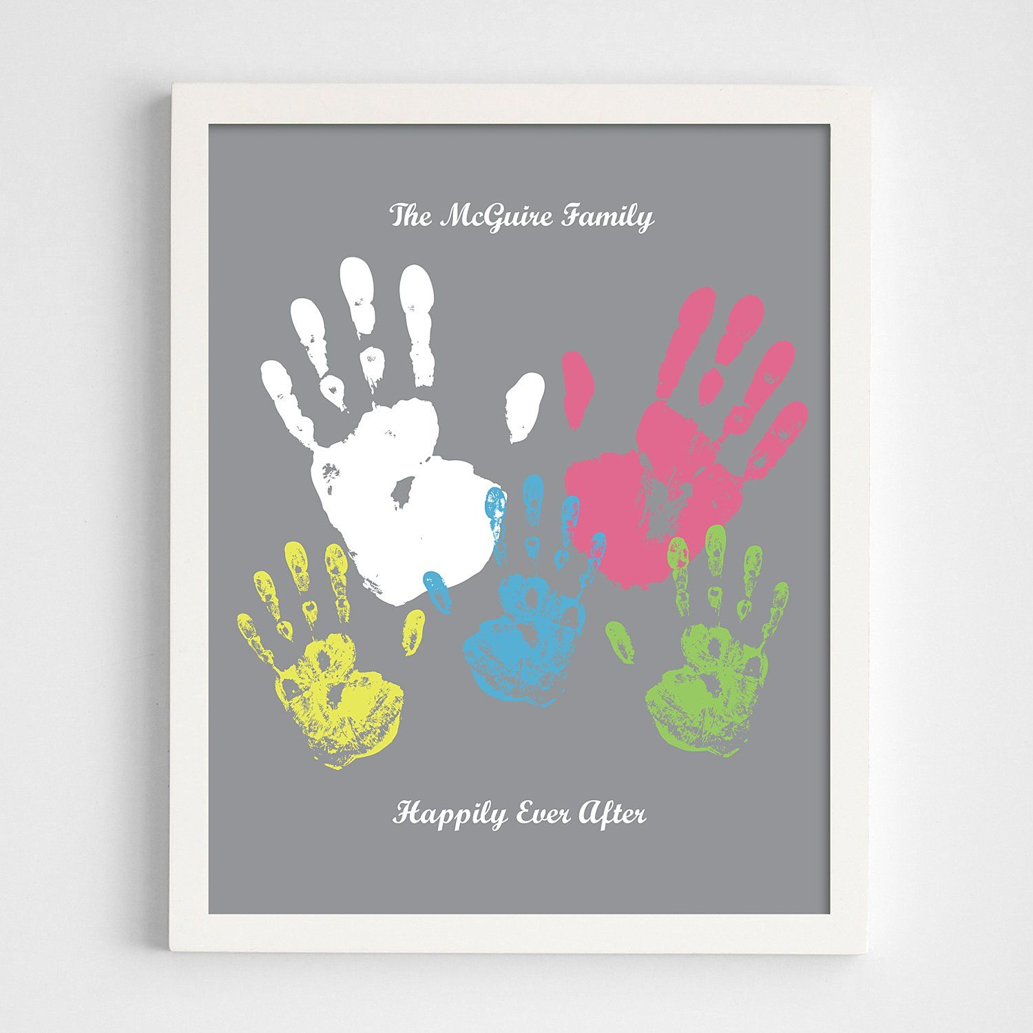 Personalized Family Handprint White Framed Print - Gray - Script - Personal Creations Gifts
