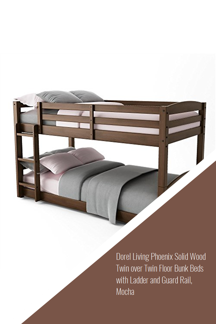 Dorel Living Phoenix Solid Wood Twin Over Twin Floor Bunk Beds With Ladder And Guard Rail Mocha Design Bunk Beds Bunk Bed Designs Dorel Living