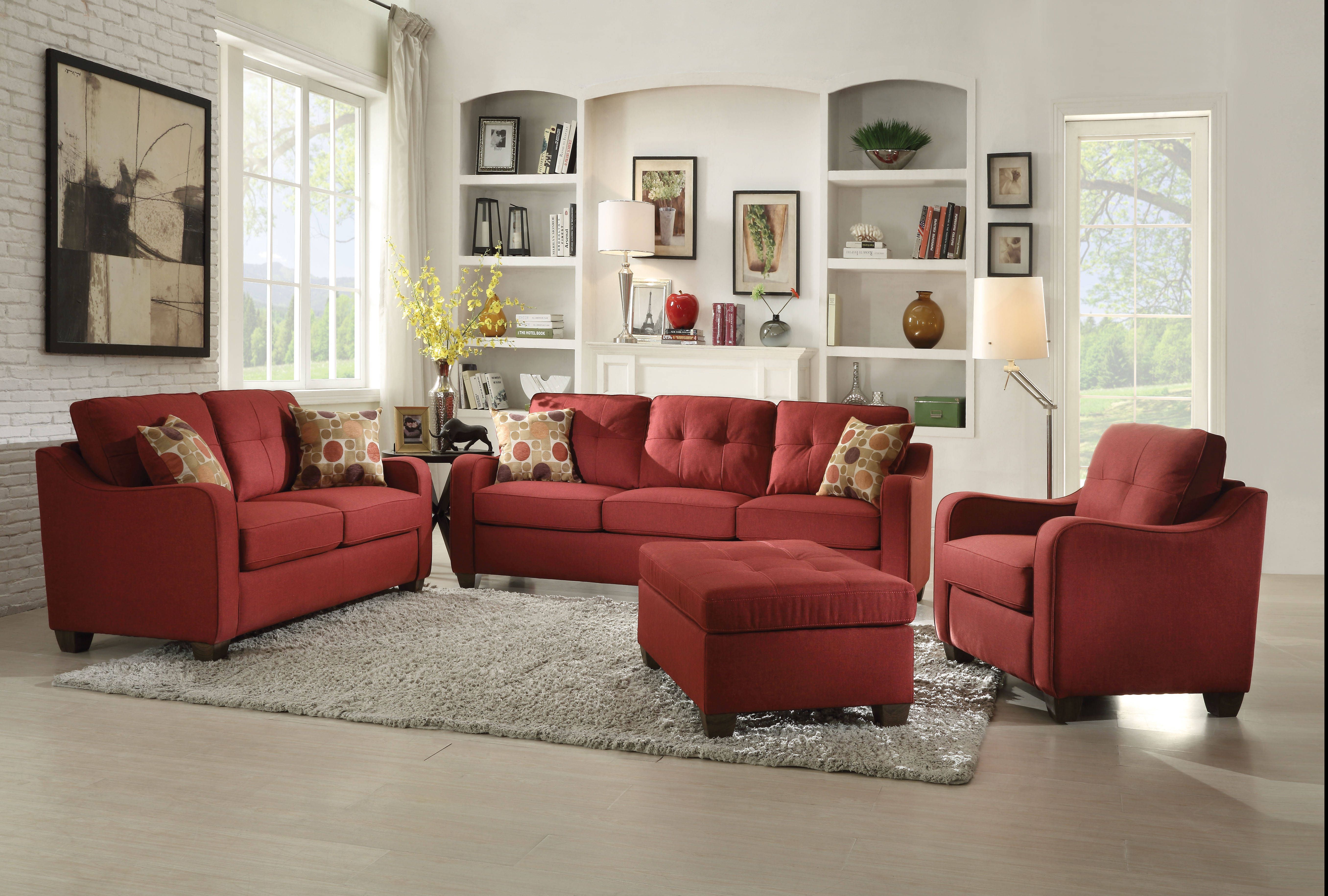 Cleavon ii modern red gray fabric wood foam living room set