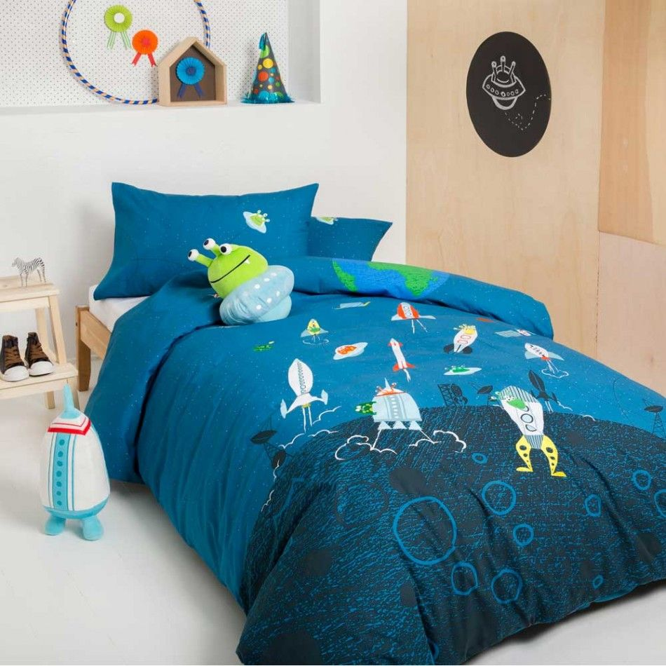 Alien Rocket E Quilt Cover Set By Kas Kids Ikea Stool As Nightstand