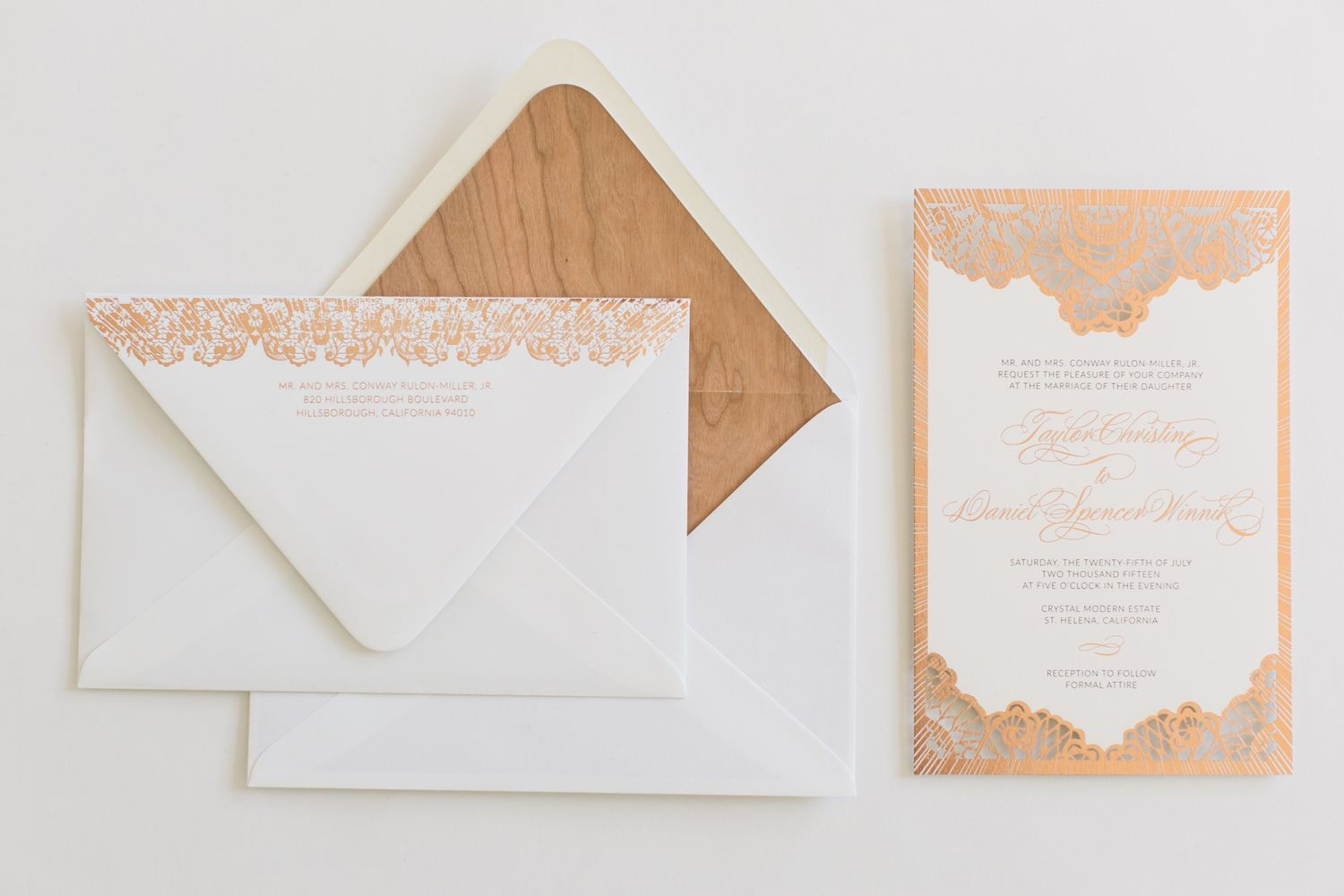 Yonder Design: Laser cut, Foil, Rose Gold Foil, Wood Veneer, Wedding ...