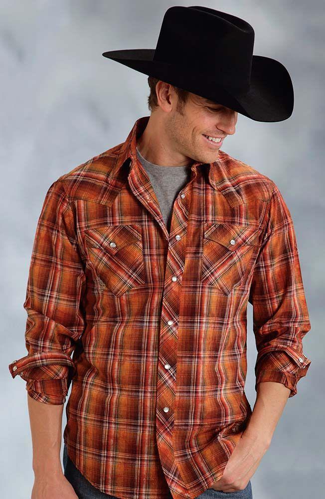 Roper Mens Long Sleeve Marbled Plaid Snap Western Shirt - Orange