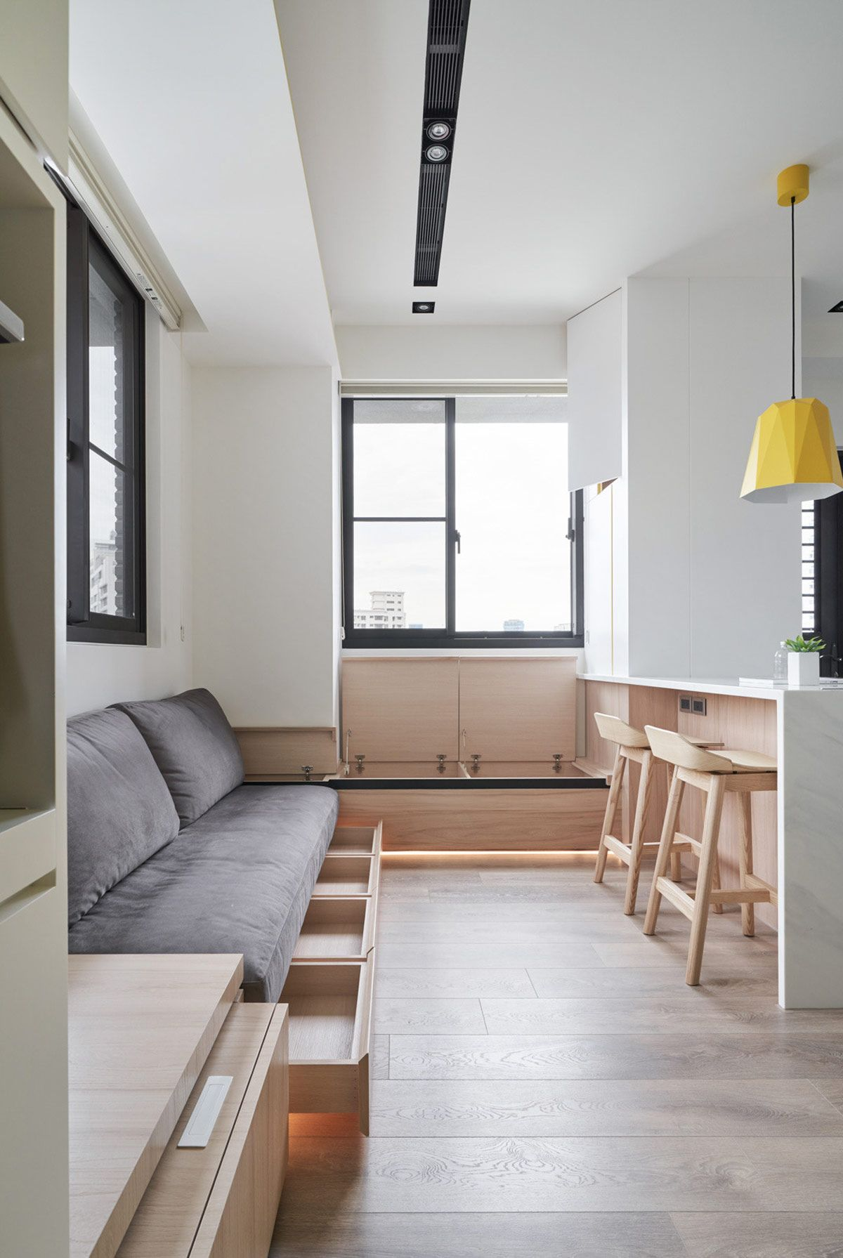 Small Interiors Made Airy With White And Yellow Decor And ...