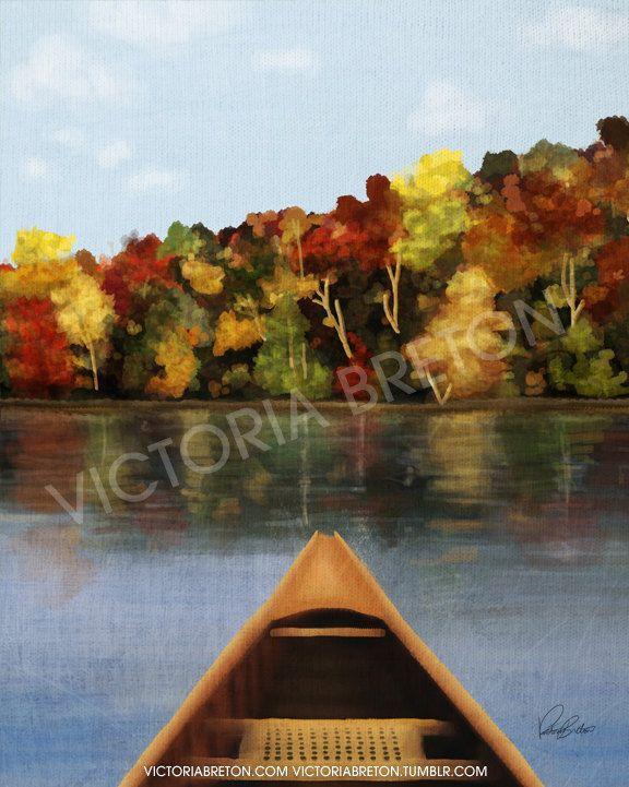 Canoeing - 8 x 10 Digital Painting Print - canoe painting - cottage painting - cottage print - lake print - forest print - autumn painting. $30.00, via Etsy.