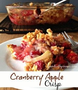 Cranberry Apple Crisp This is a simple, homemade treat that'll please kids and grownups alike. Apples paired with the cranberries makes it sweet and tart and and the crumble topping give it a bit of crunch.  The perfect fall dessert. This is especially...