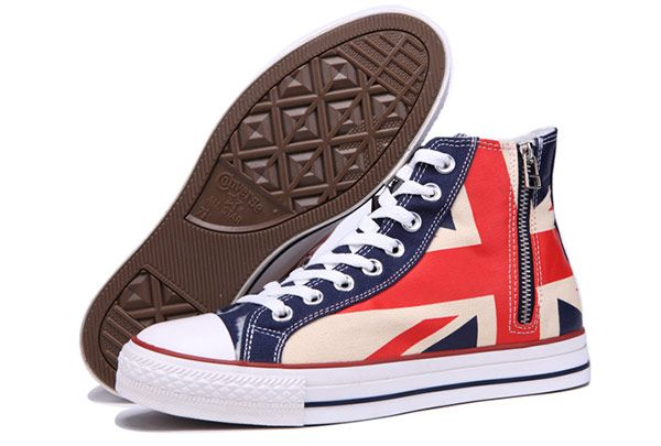8f3b8afddab6 Converse Union Jack Rock Flag British Chuck Taylor All Star Soft Nap Winter Sneakers  High Tops Red Blue Side Zip  converse  shoes