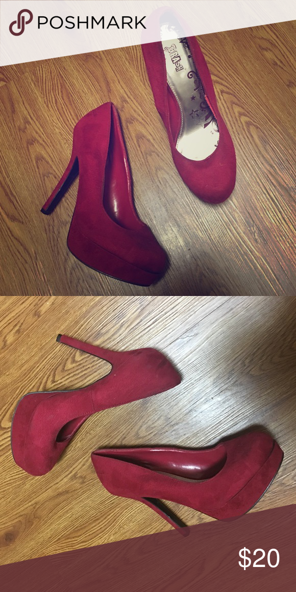 5dfad146185 Brash Shoes | 'Brash' Suede Platform Pumps | Color: Red | Size: 9.5 ...