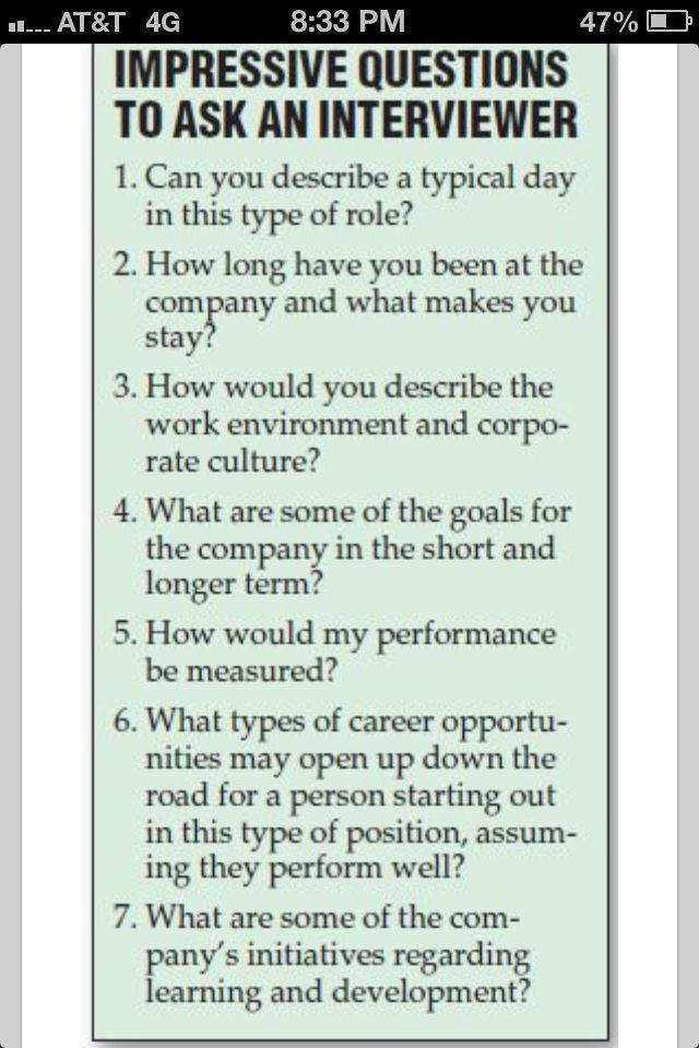 questions to ask in a interview