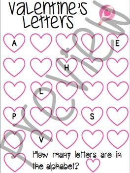 - Valentine's worksheets where the child has to fill in the missing letter of alphabet.- This helps struggling children with their alphabet order, identification and sound.- They can also practice their counting skills since they have to write the amount of letters that are in the alphabet.- These could be used as a worksheet or you could also laminate them and the child can use a dry erase marker to fill it in.- It comes with:    - 3 different worksheets of capital letters   - Answer key…