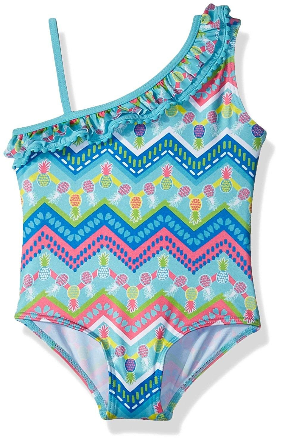 Pink Platinum Baby Girls Pinapple with Heart 1-Piece Swimsuit