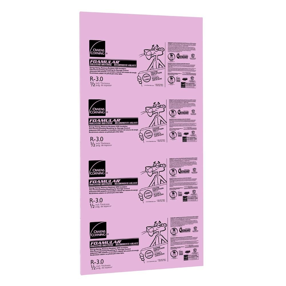 Owens Corning Foamular 1 2 In X 4 Ft X 8 Ft R 3 Square Edge Rigid Foam Board Insulation Sheathing 36l The Home Depot Foam Insulation Board Rigid Insulation Sheathing
