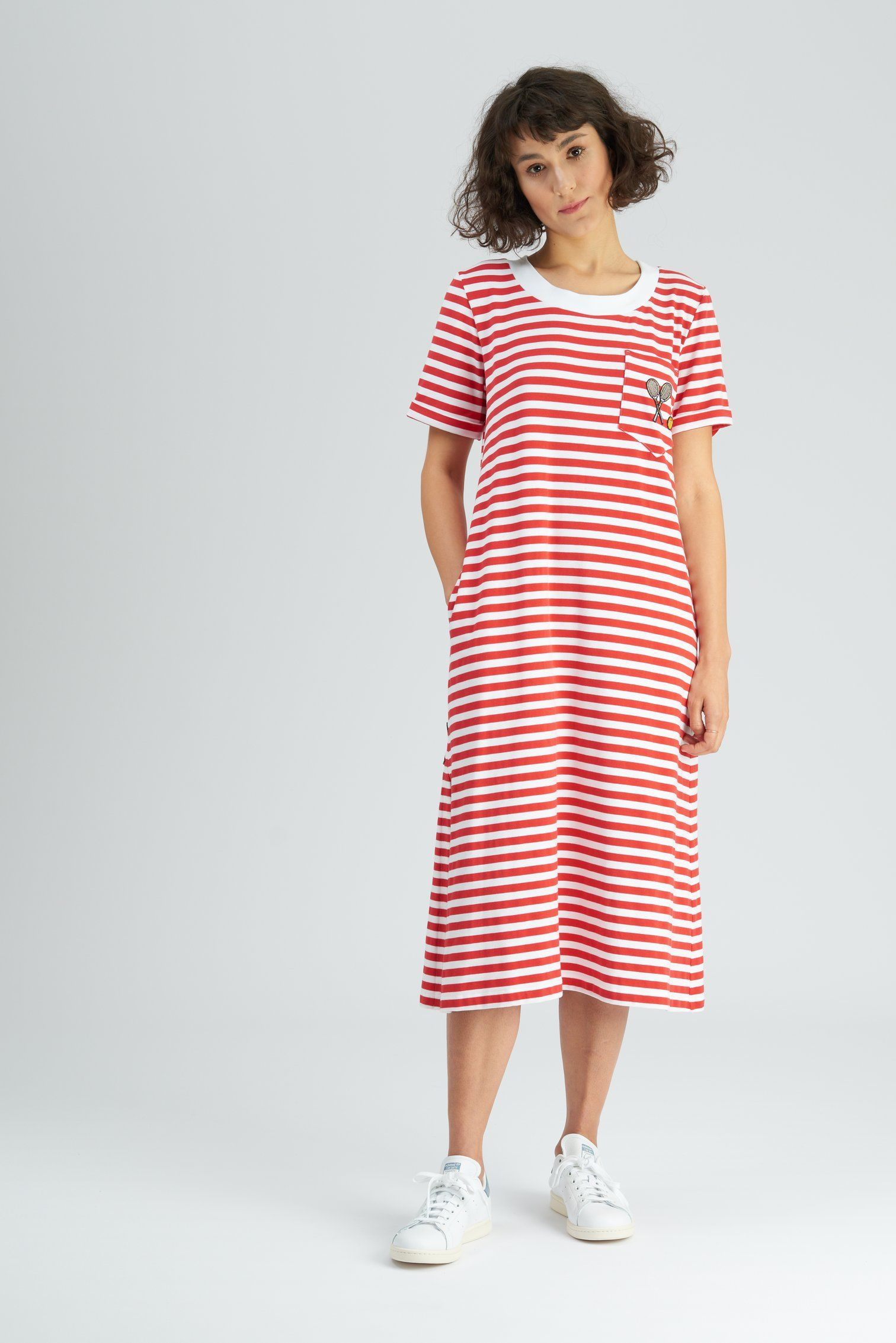 0b558d0a8852f Evert Striped T-shirt Dress by Tomcsanyi at Wolf and Badger A t-shirt  jersey maxi dress with front pocket and embroidered badge detail. With  sporty red and ...