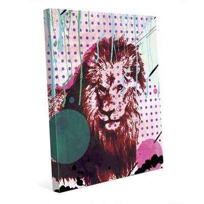 """Click Wall Art 'The Fearless King' Graphic Art on Wrapped Canvas Size: 10"""" H x 8"""" W x 0.75"""" D"""