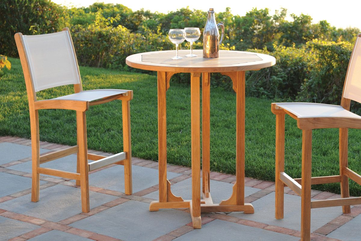 Attrayant Furniture, Round Slatted Teak Bar Table Design With Carving Cross Stand 2  Slatted Teak Bar