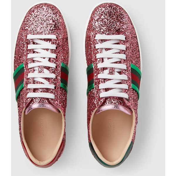 be22c191cb4 Gucci Ace Glitter Low-Top Sneaker ( 650) ❤ liked on Polyvore featuring  shoes