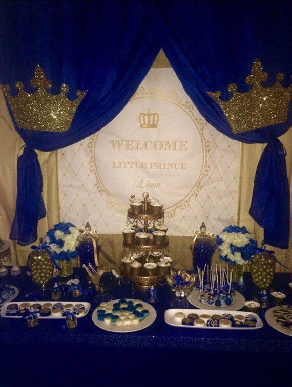 gold and white prince, crown, baptism, christening ...