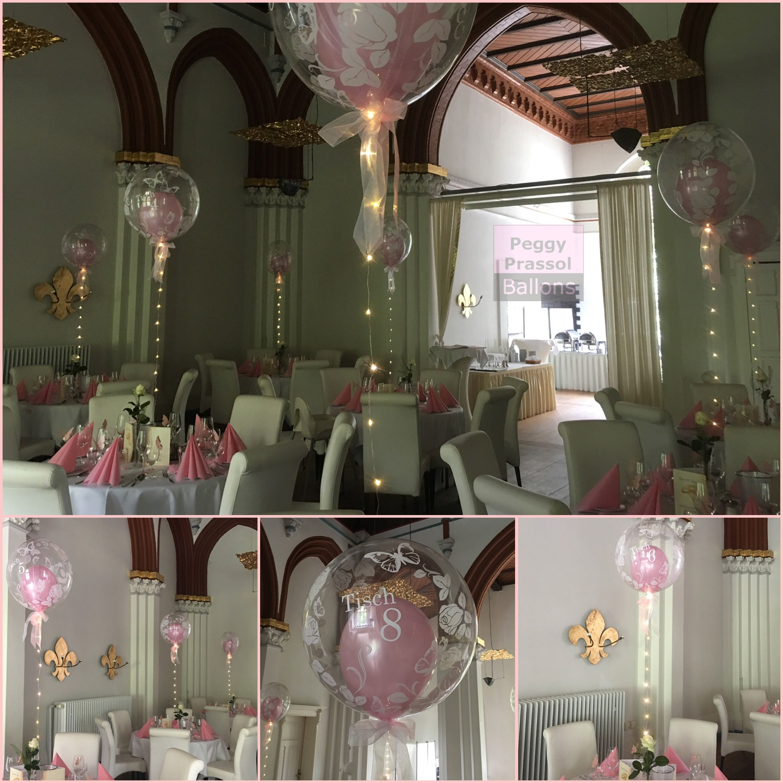 Zauberhafte Tischdeko Zur Hochzeit Bubble Ballons Uber Den Tischen Lichterketten Tischnummern Rosa Hochzeitsdeko Tischdeko Hochzeit Ballon Dekoration