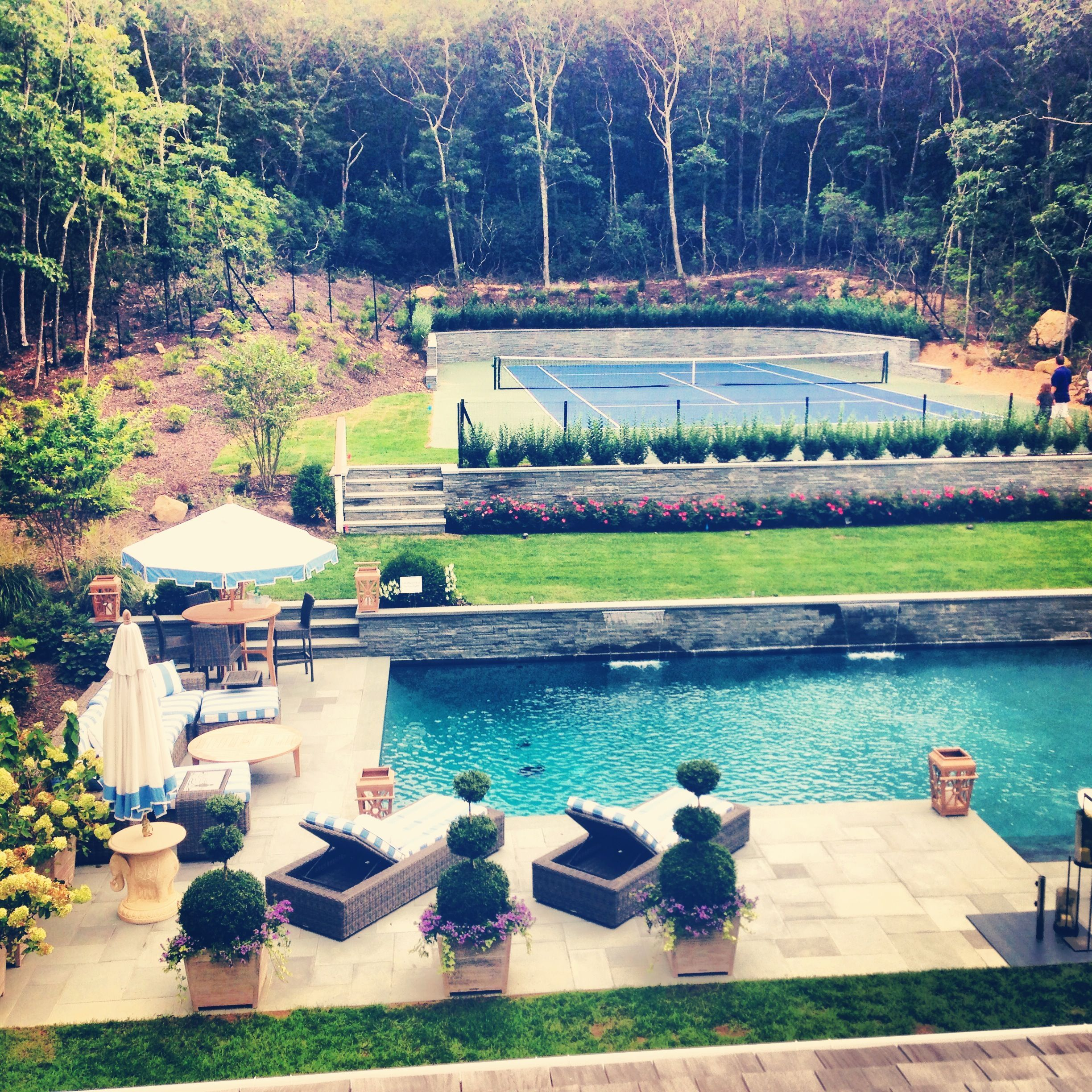 Only Need To Switch The Tennis Courts For A Basketball Court Tennis Court Backyard Backyard Pool Backyard