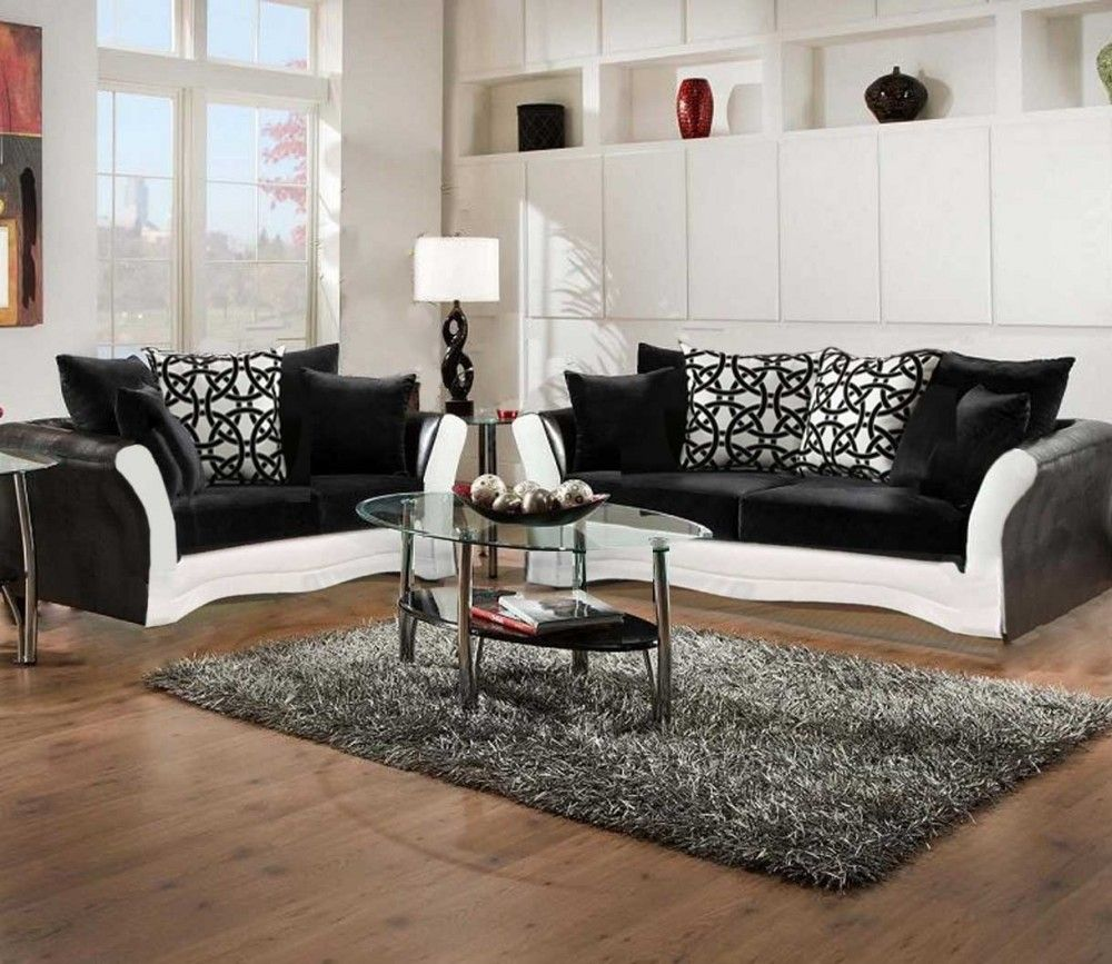 Black And White Sofa And Love Living Room Set Cheap Living Room