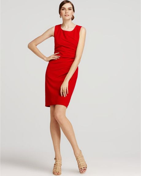 52 T12 Calvin Klein Pleated Sheath Dress In Red
