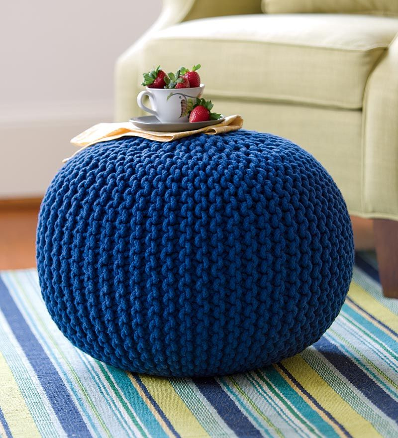 Hand-Knitted Pouf Ottoman orangd---that color | DIY Furniture ...