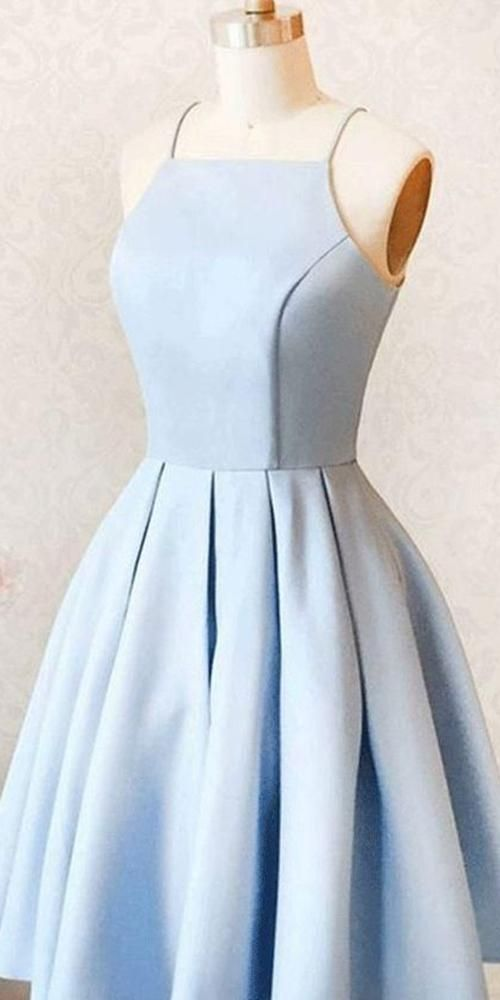 Simple Spaghetti Straps Short Homecoming Dress Cute Girls Cocktail Party Gowns Short Satin School Dance Dresses SHD074