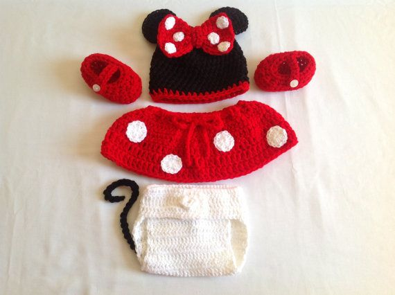 FREE SHIPPING - Baby Crochet Minnie Mouse Hat, Diaper Cover, Shoes, and Skirt- Black, White, and Red. on Etsy, $35.00