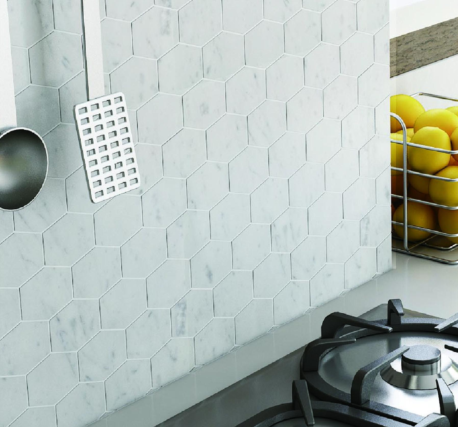 Bianco carrara hexagon 2 marble mosaic tile 12x12 carrara marble a bianco carrara hexagon marble mosaic httpstilebuys dailygadgetfo Gallery