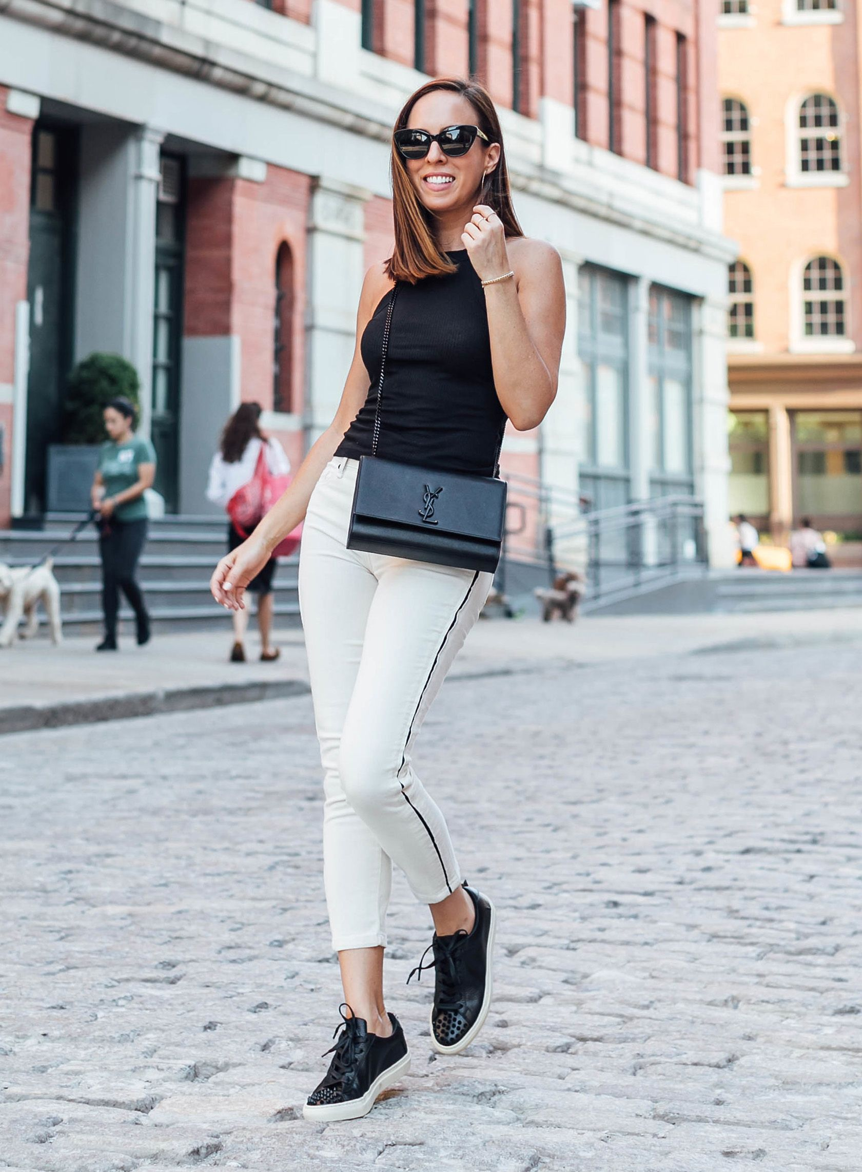 afe665cef98f5 Sydne Style shows casual summer outfit ideas in habitual stripe jeans   jeans  blackandwhite  casualstyle  sneakers
