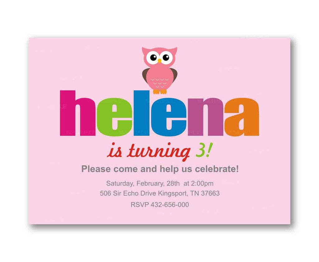 Colorful Owl Pink Girl Kids Birthday Invitation Party Design