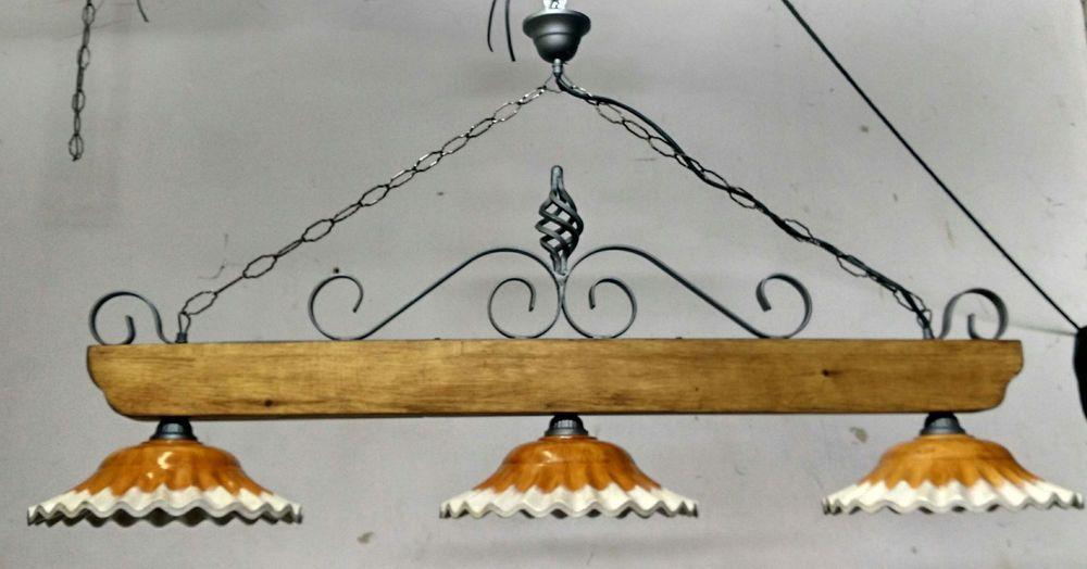 Lampadario Rustico Per Taverna : Bilanciere lampadario rustico ferro battuto terracotta e legno