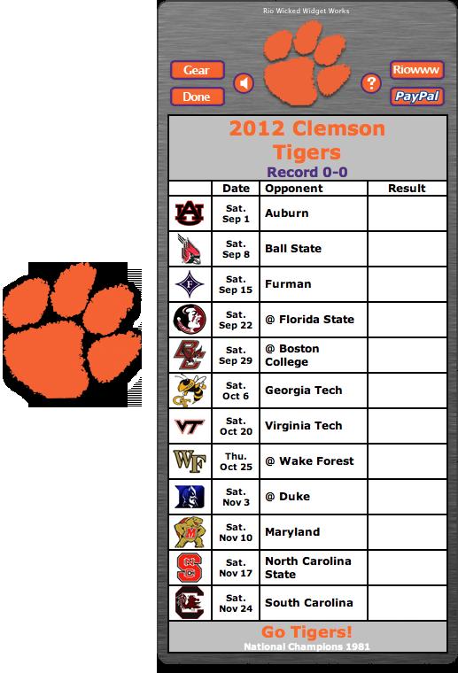 Free 2012 Clemson Tigers Football Schedule Widget Go