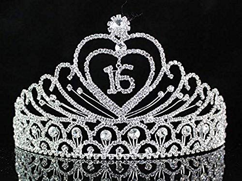 New Janefashions Sweet Sixteen 16 Years Old 16th Birthday Party Clear White Austrian Rhinestone Crystal Metal Tiara Crown With Hair Combs Princess Silver T1629 online - Greatstylegreatshop