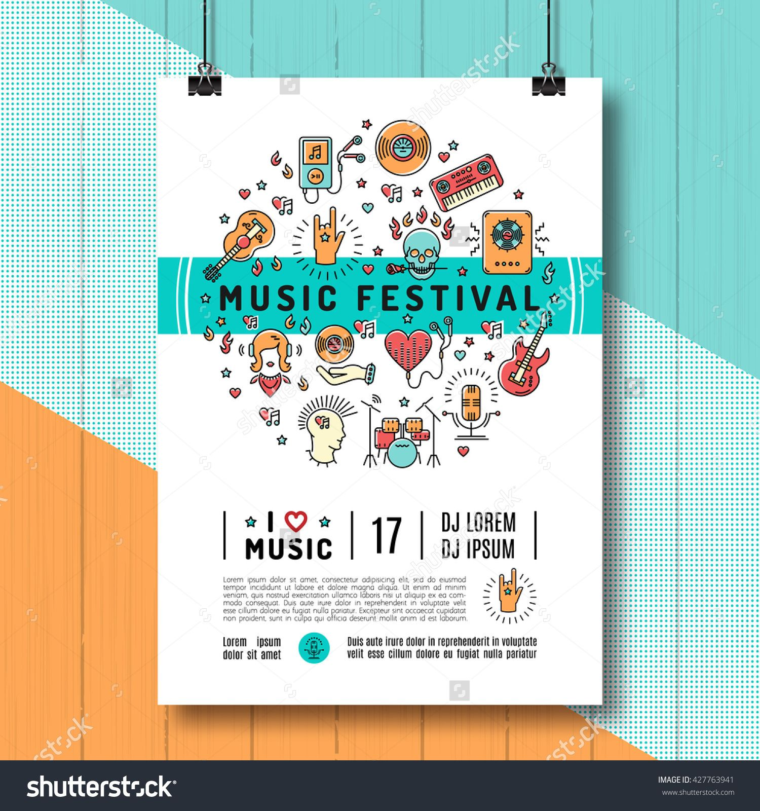 Music Festival Poster Template A4 Size Music Infographics Trendy Icons Line Art Style Rock Music Poster Design Concert Poster Design Music Festival Poster