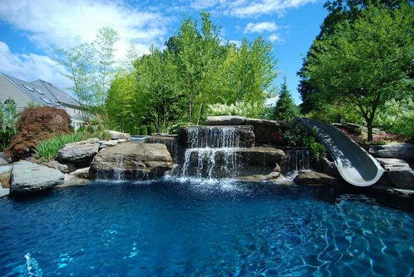 Spectacular Pool Waterfall Water Slide Contemporary Backyard Pool