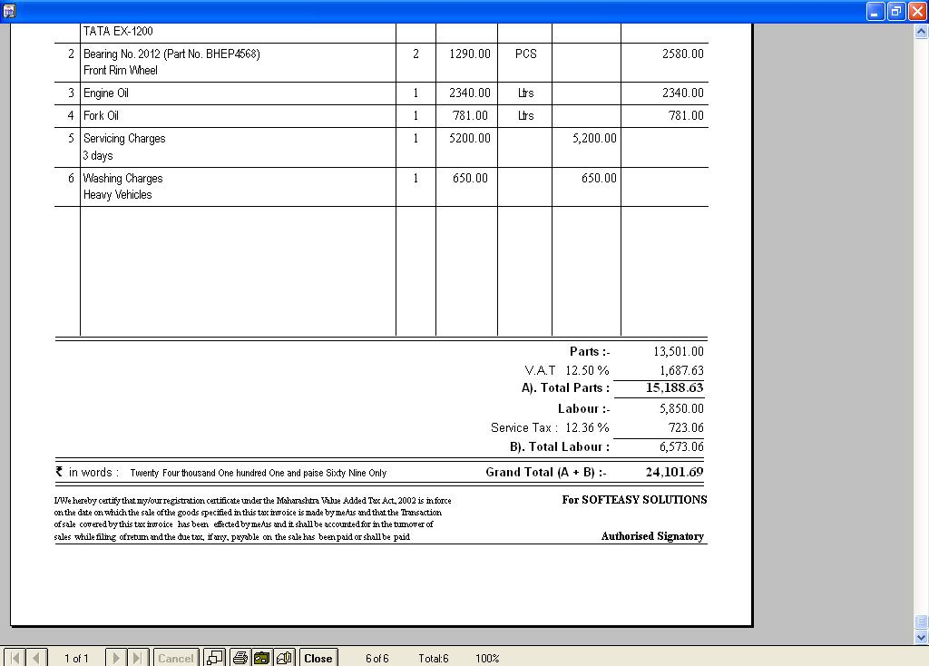 Tax Billing Print Out Screen of HEAVY & LIGHT VEHICLES BILLING software