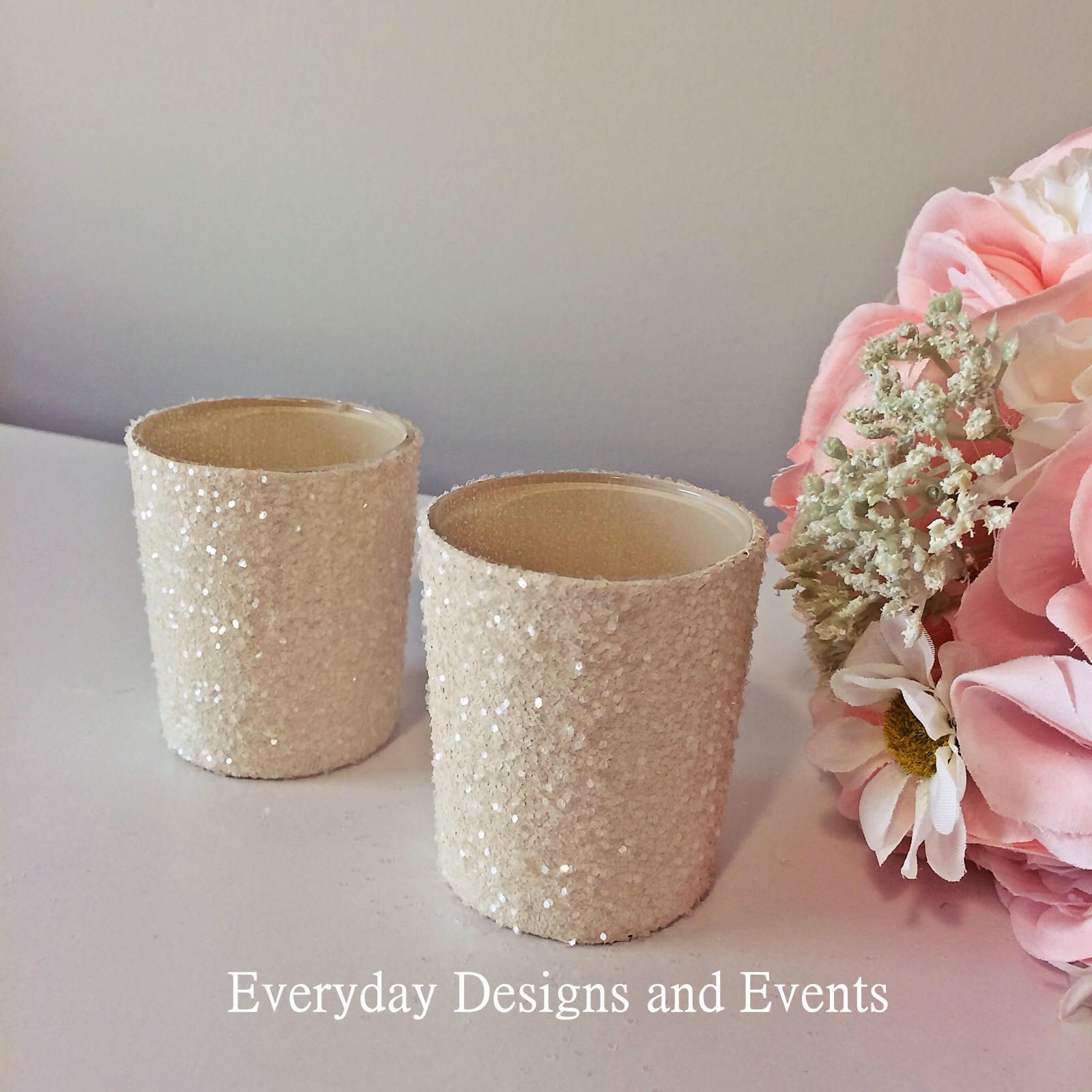 12 Ivory Votive Candle Holders Gold Candles Wedding Centerpiece