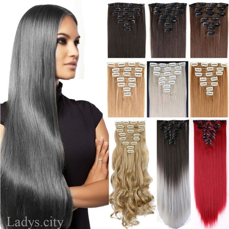 Us Local Stock 8pcsset Clip In On Hair Extensions Full Head 18clips