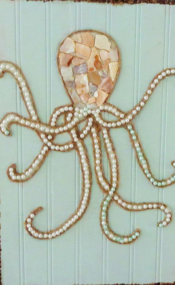 Octopus Wall Art Original Beach D Cor Mixed Media