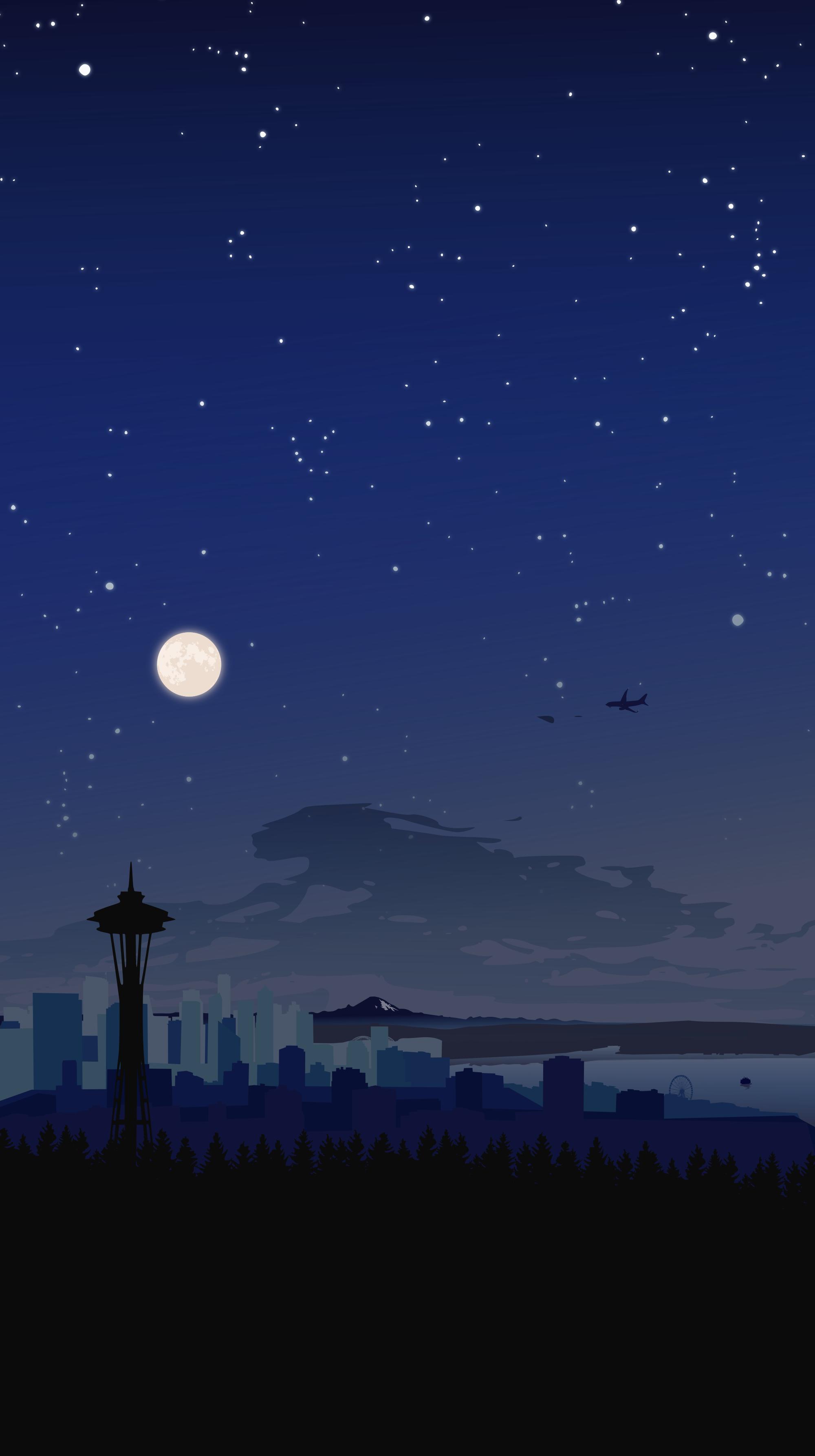 Night Seattle Skyline Wallpaper Smart Phone Wallpapers 4kphonewallpapersreddit Iphonewallpap Scenery Wallpaper Landscape Wallpaper Anime Scenery Wallpaper