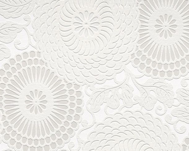 White Textured Wallpaper For 1 Dining Room Wall