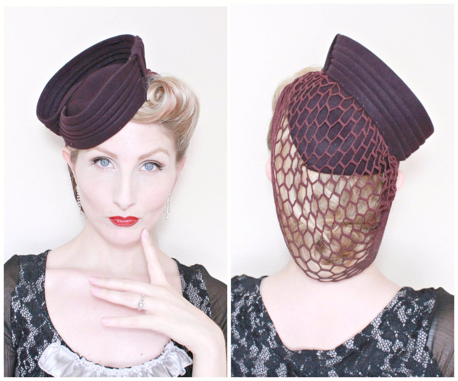 28127e14 1940s Hat / VINTAGE / 40s / Tilt Hat / Attached Snood / Deep Plum /  Sculpted / RARE by HighHatCouture on Etsy