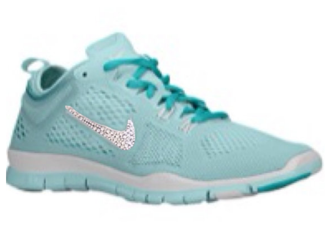 Glitter Shoes - Nike Free 5.0 custom made with Swarovski Crystal Swoosh  Bling Teal Blue 631d750b134f
