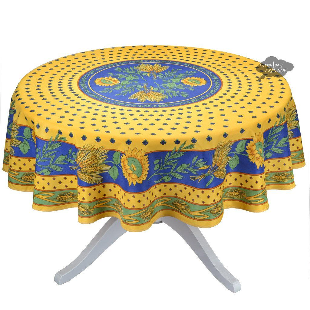 Tournesol Blue Yellow French Provencal Tablecloth 70 Round Table Cloth Blue Tablecloth Blue Table Runner