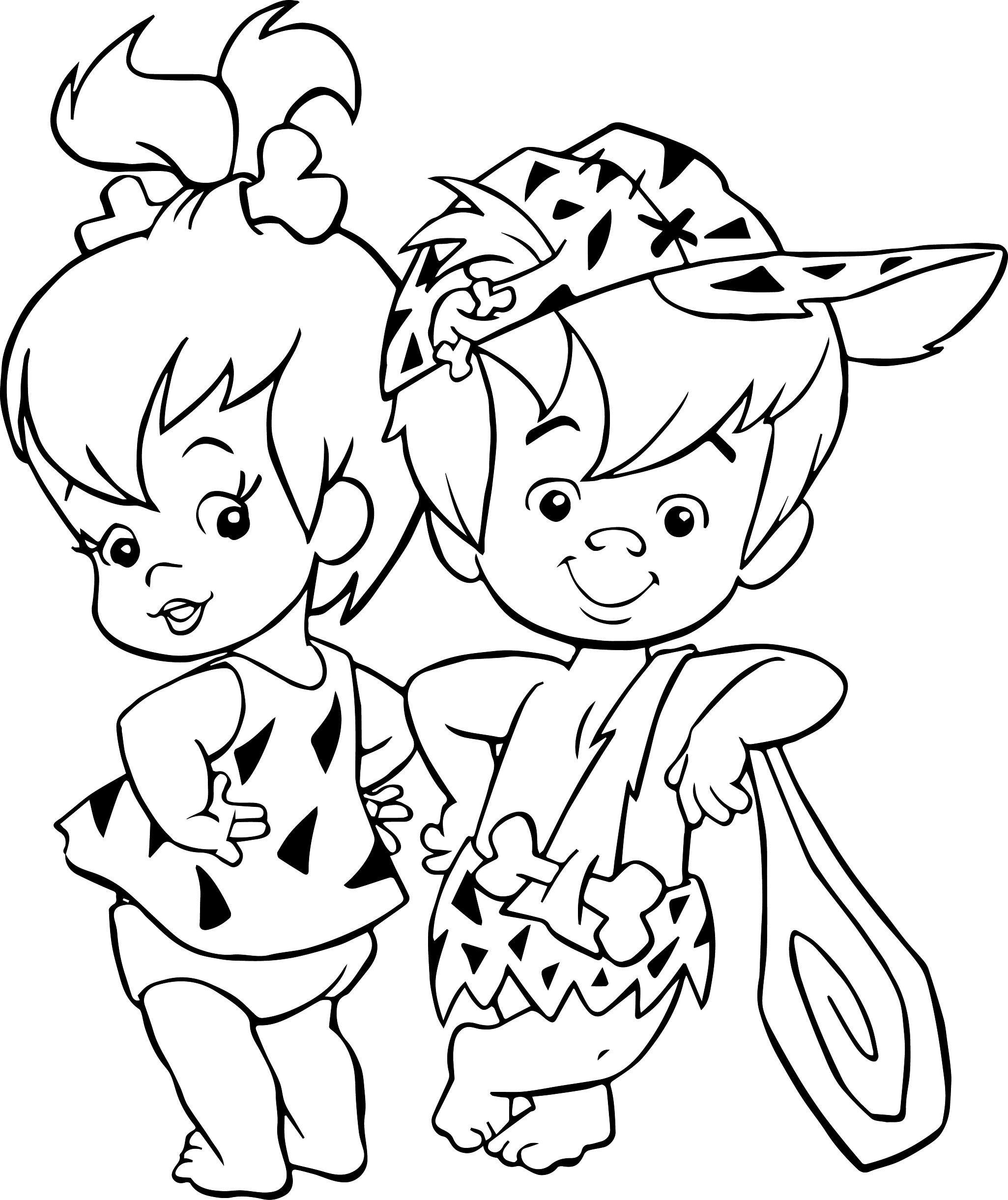 The Flintstones Baby Girl Pebbles Baby Boy Bamm Bamm Rubble Coloring ...