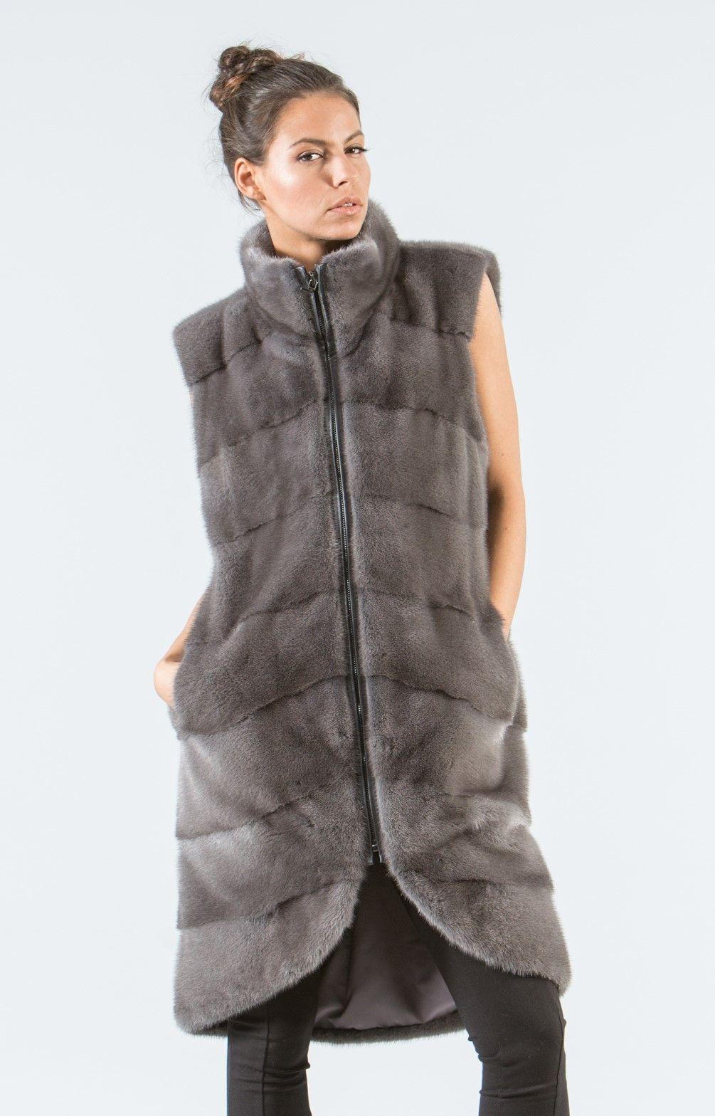93d59f8f014bc Gray Mink Fur Vest -100% Real Fur Coats - Haute Acorn.