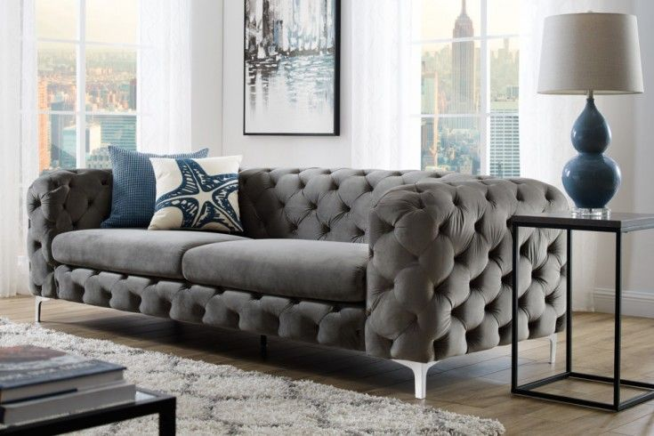 Elegantes Chesterfield 3er Sofa MODERN BAROCK 240cm grau ...