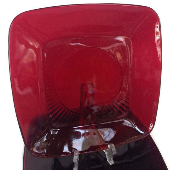 Vintage Anchor Hocking Ruby Red dinner plates Deep red glass dishes in the Fire King Charm Pattern Square plates Set of 4 9 1/4 inches wide & Vintage Anchor Hocking Ruby Red Luncheon Plates-Charm Pattern- Glass ...
