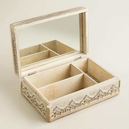 World Market Jewelry Box Prepossessing Whitewash Carved Brooklyn Jewelry Box $4999 $2499  World Market Review