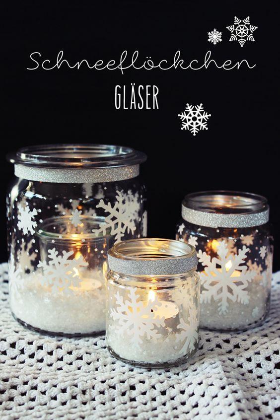 on peut faire de magnifiques d corations d 39 hiver avec des bocaux en verre voici quelques. Black Bedroom Furniture Sets. Home Design Ideas